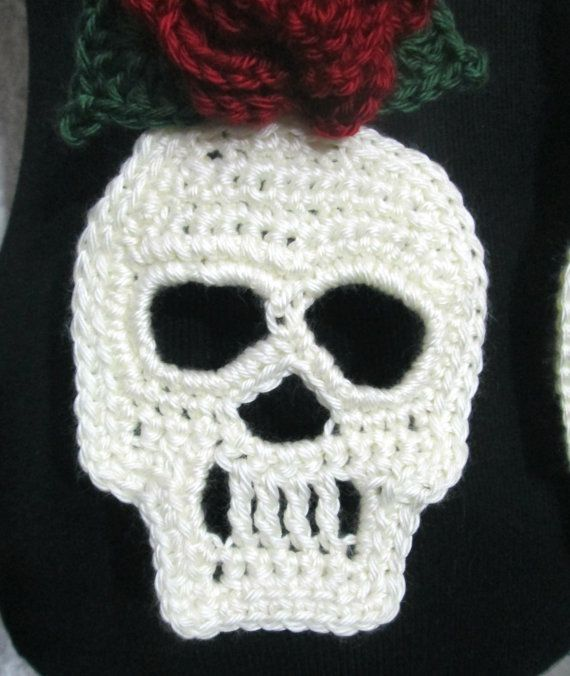 Day of the Dead Skull & Roses Crochet Scarf by MerakiDesignsNY ...