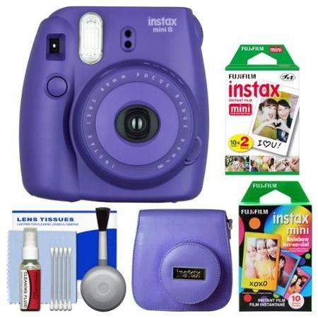 Fujifilm Instax Mini 8 Instant Film Camera (Grape) with 20 Twin ...