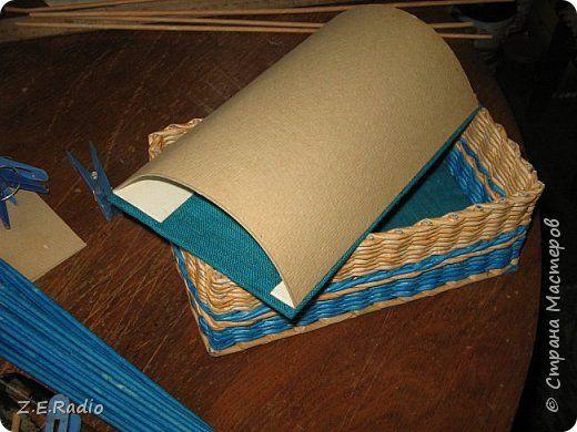Поделка изделие Плетение Сундучок для мальчишечьих сокровищ Бумага газетная Трубочки бумажные фото 4