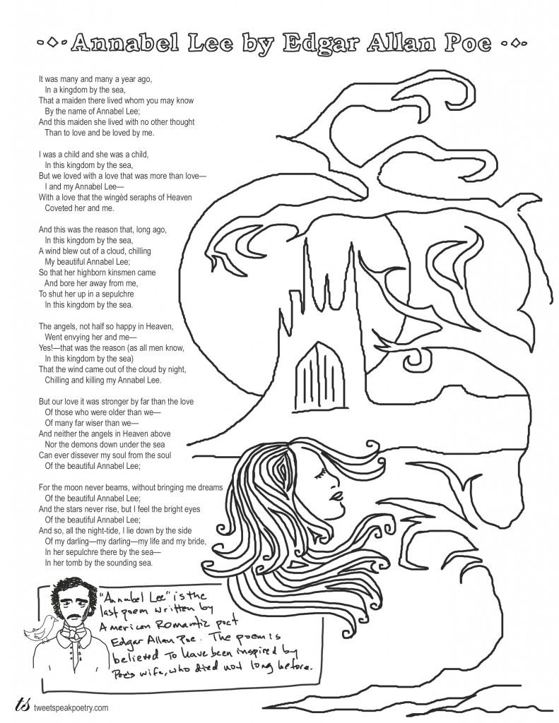 edgar allan poe coloring pages Annabel Lee by Edgar Allan Poe Coloring Page Poems | Coloring  edgar allan poe coloring pages
