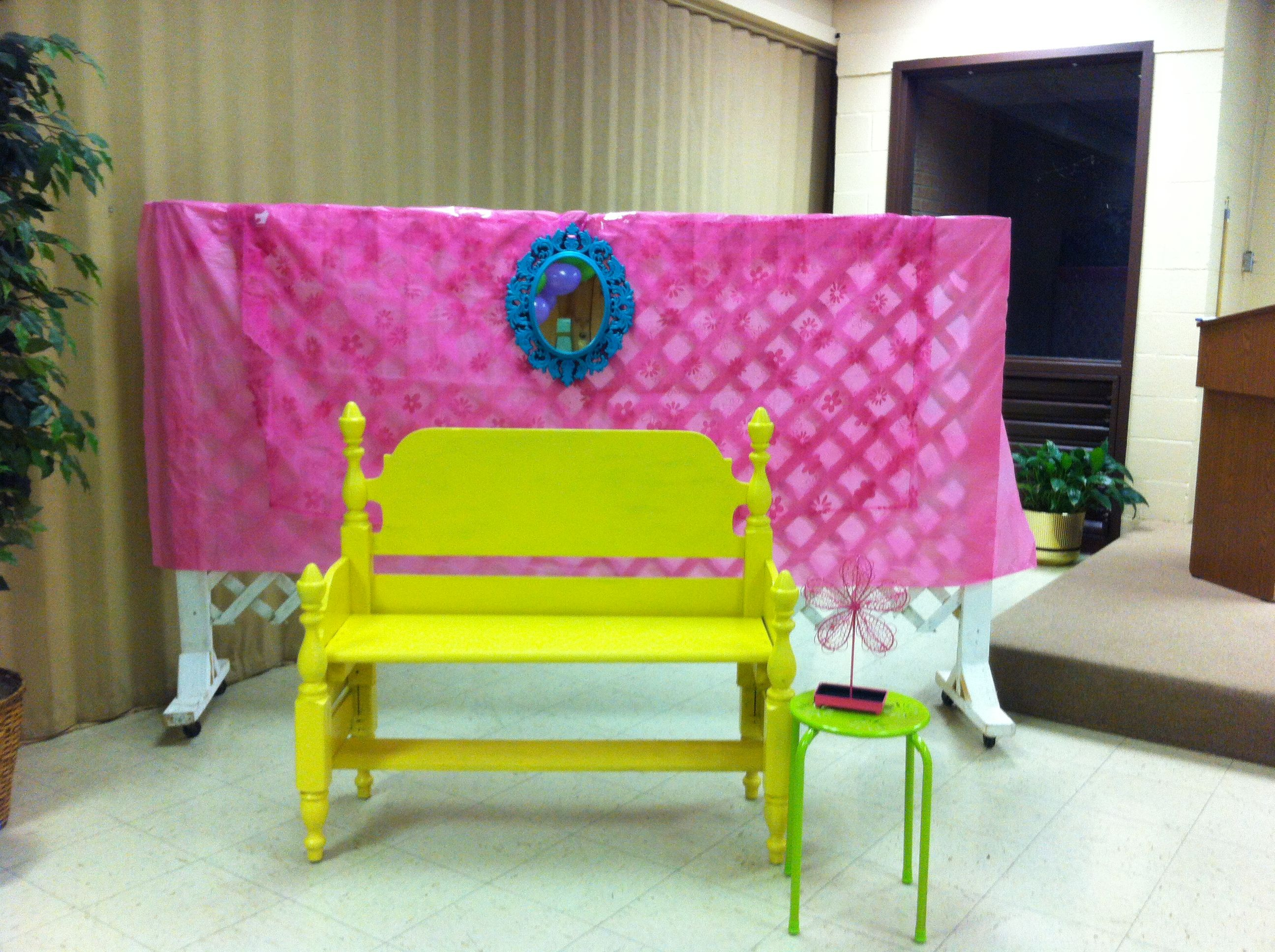 Photo booth ) the bench was a DIY project made from a