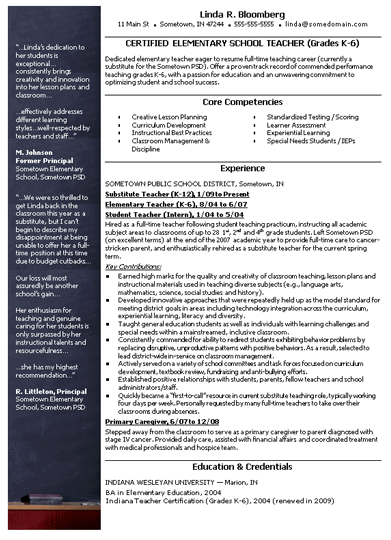 Elementary School Teacher Resume Template | Resume | Pinterest ...