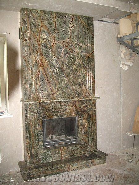 Rainforest Green Marble Fireplace Fireplace Pinterest Green