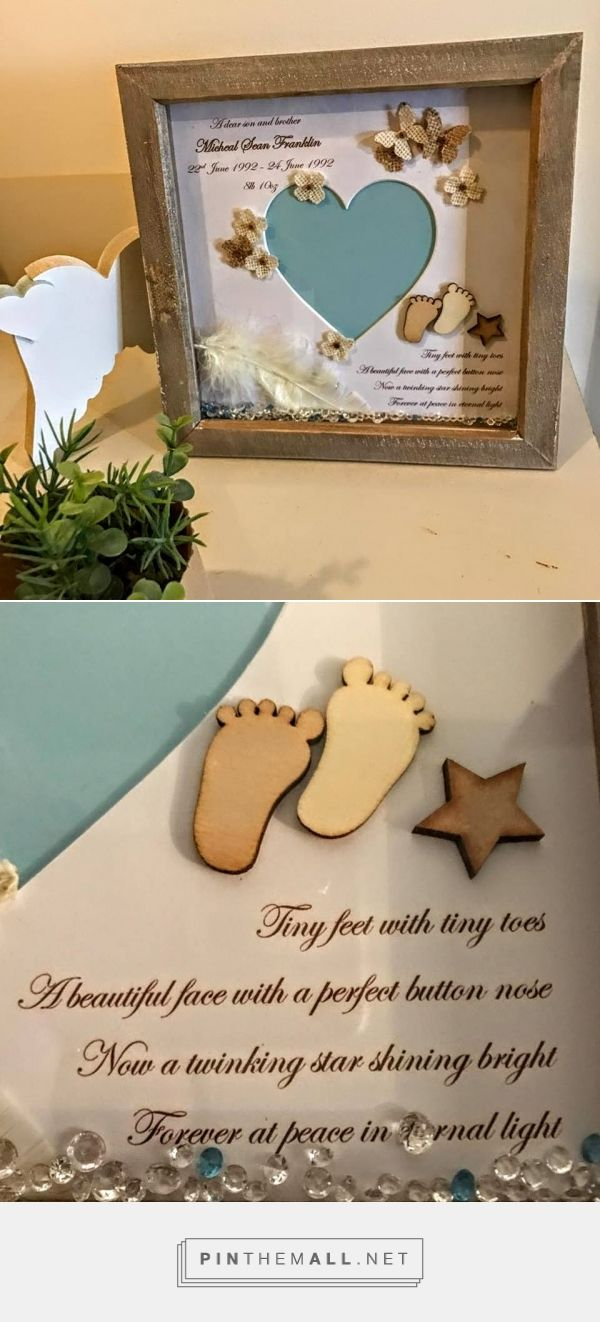 Baby memorial gift personalised memorial frame heaven in our home photograph frame adorned with a wooden star and wooden babys footprints finished with an antique negle Gallery