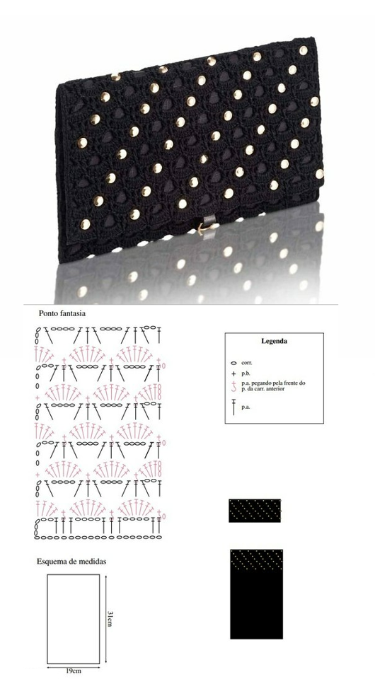 Patrones Crochet: Patron Crochet Bolso Mano de Noche | Ideas de ...