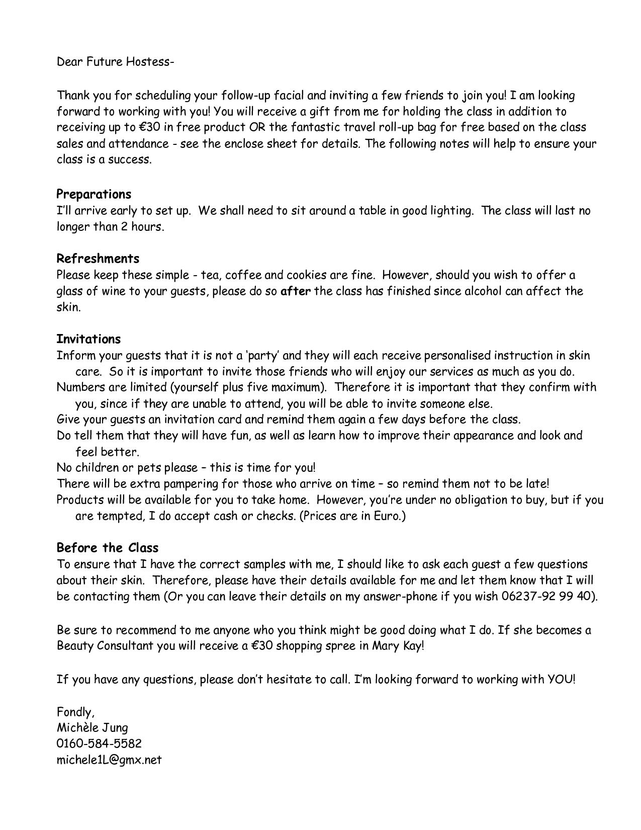 roll up bag closing sheet mary kay | Hostess Letter _ Outside ...