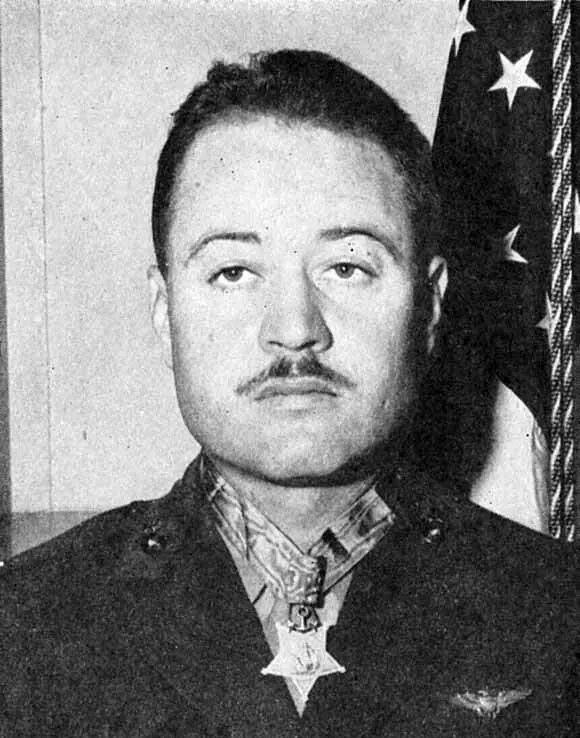 "Major Greg ""Pappy"" Boyington of the infamous Blacksheep Squadron."