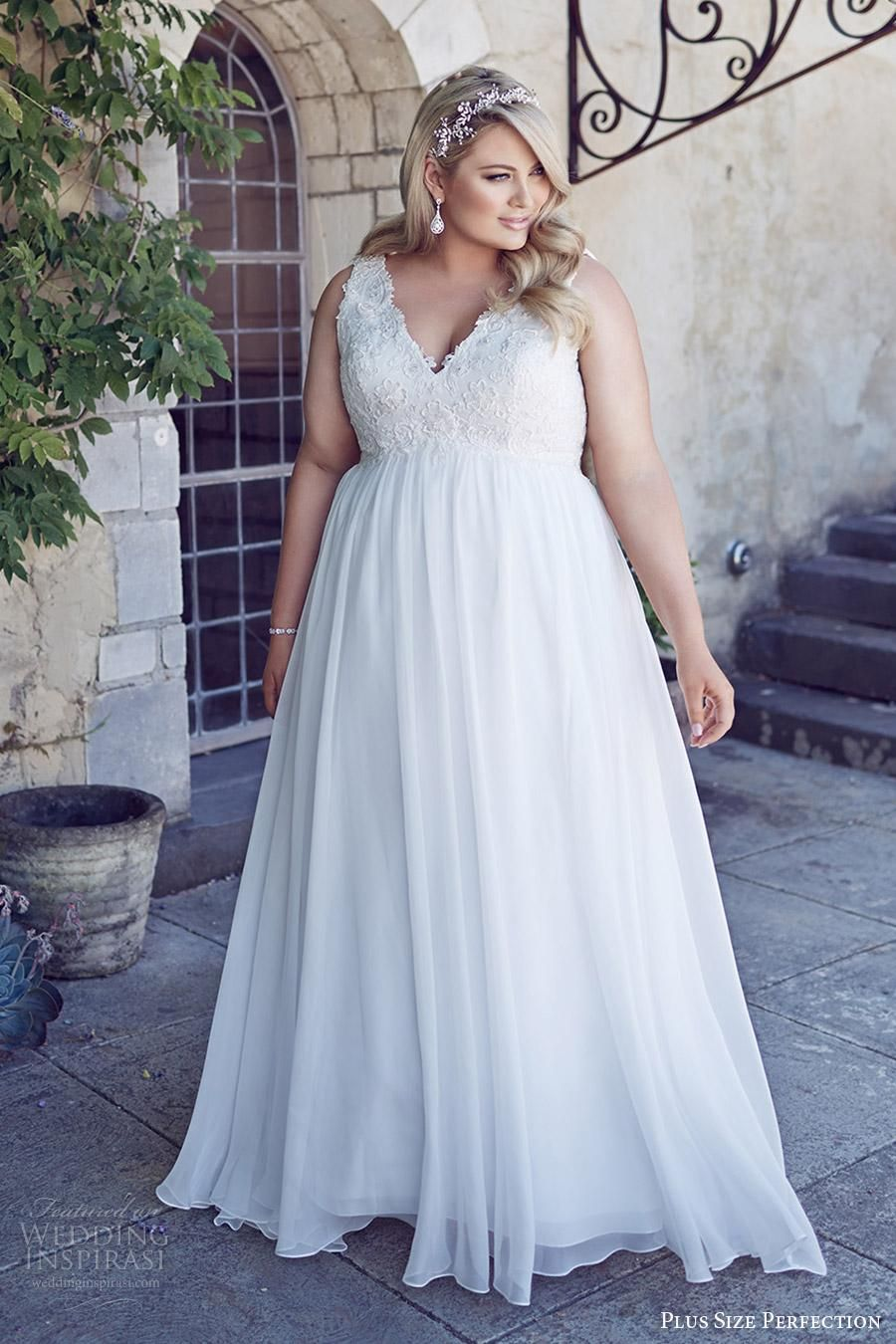 2016 New Summer Plus Size Wedding Dresses With Empire High