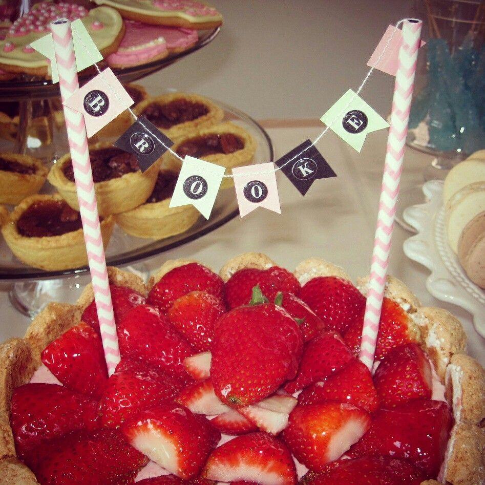 shabby chic bridal shower cakes%0A Personalized cake topper banner  brookeandmatt