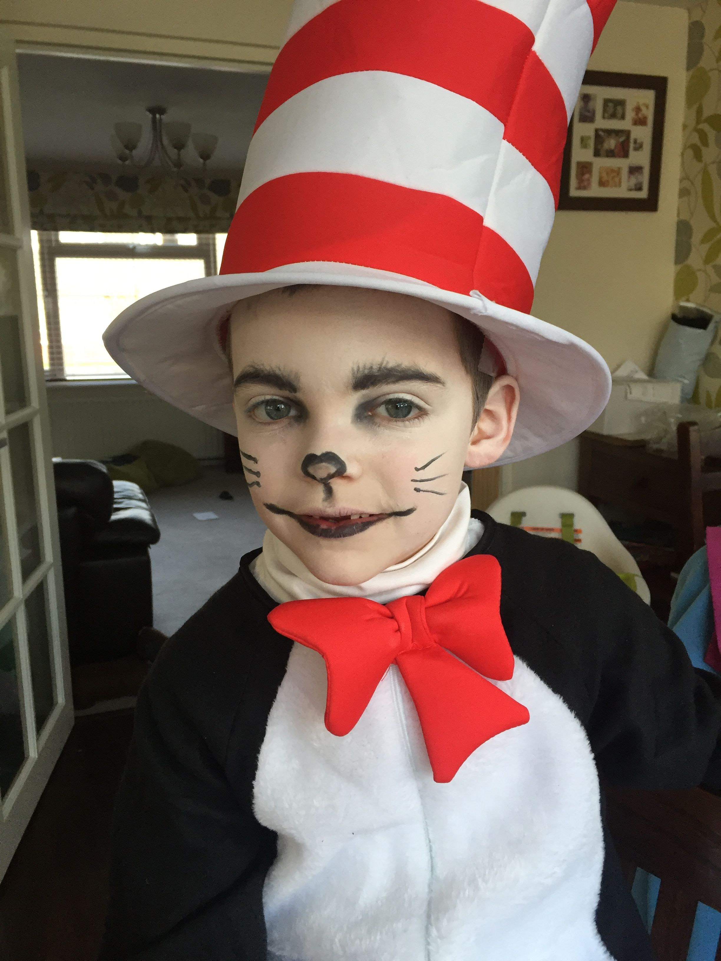 Cat in the hat costume and makeup for world book day