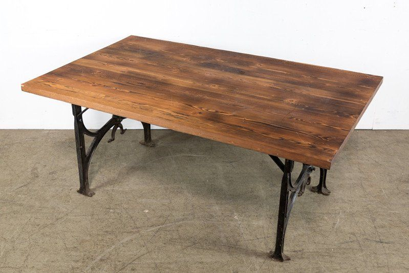 custom wood table w cast iron base custom wood wood table and iron rh pinterest com