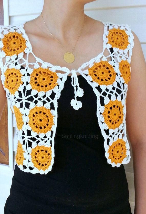 Granny Square Yellow Vest, Crochet Sweater, Lace Top, Romantic Top ...