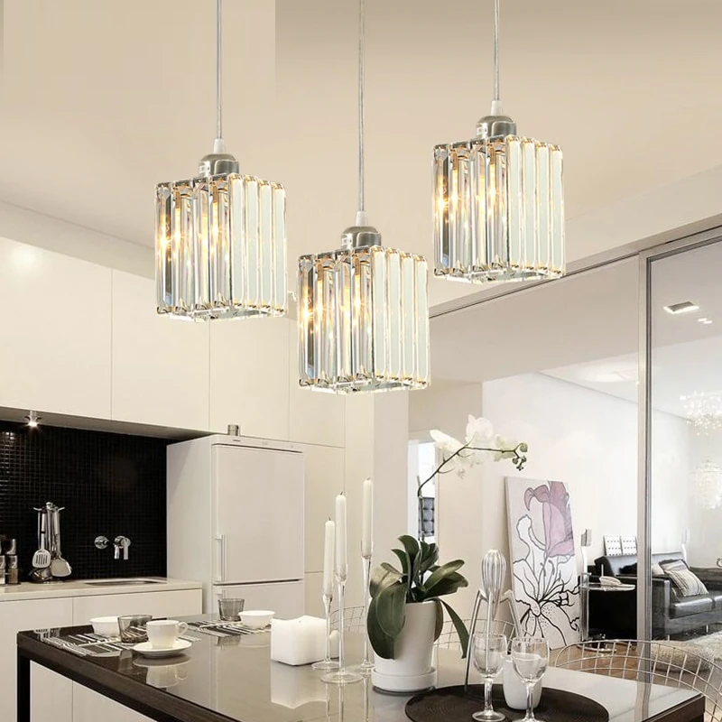 Vintage Led Crystal Pendant Lights For Kitchen Island Bar Coffee Dining Table Bedroom Nordic Loft Cord Crystal Living Room Light Crystal Pendant Lighting Pendent Lights Kitchen Lights Over Dining Table