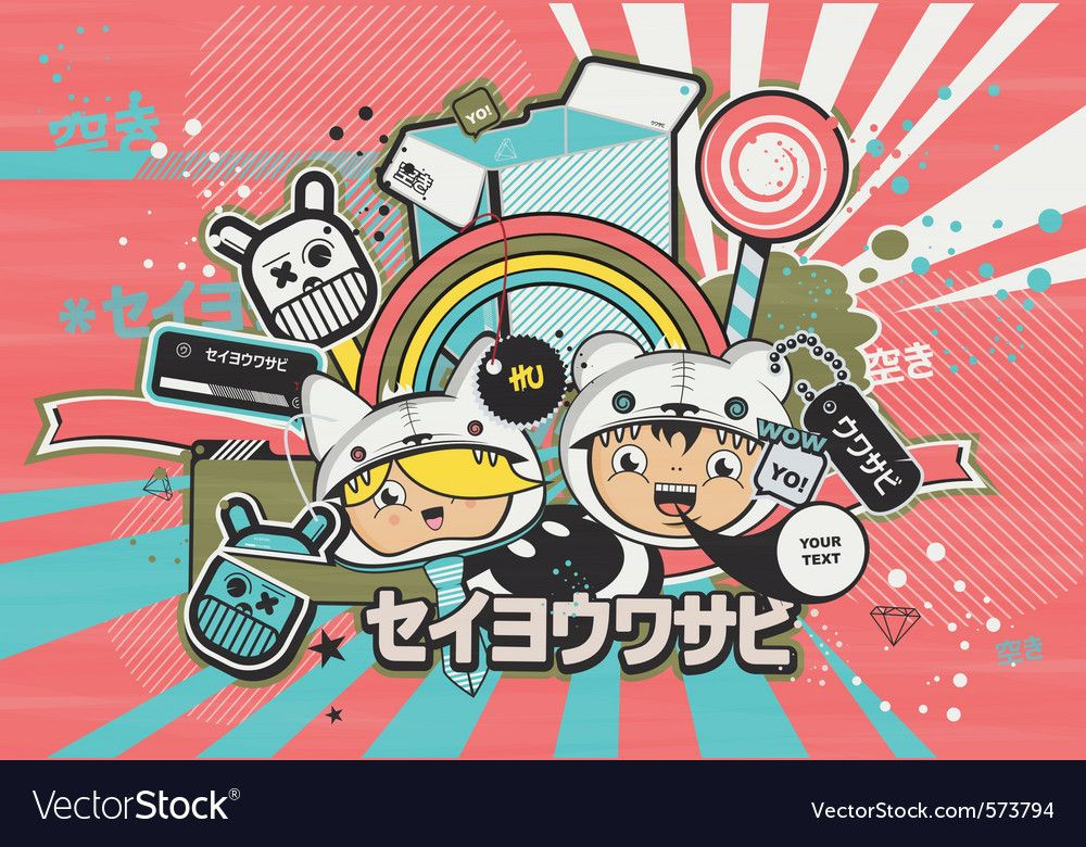 Japanese anime design style vector image on VectorStock