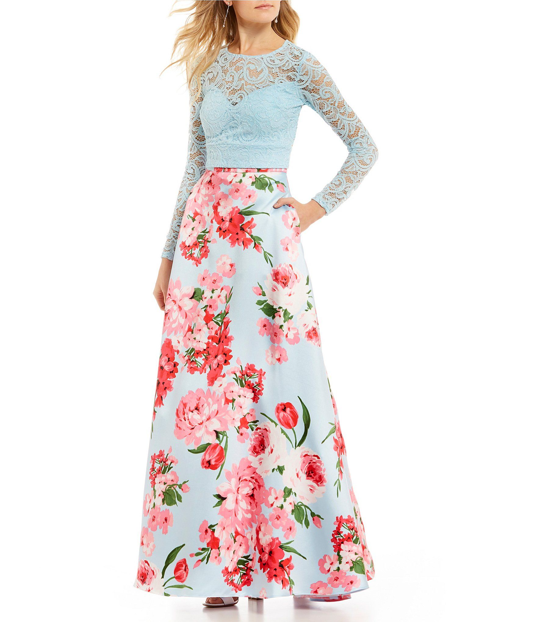 B darlin long sleeve lace top with floral skirt twopiece ball gown