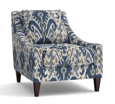 Aiden Upholstered Armchair, Polyester Wrapped Cushions, Ikat Geo Blue