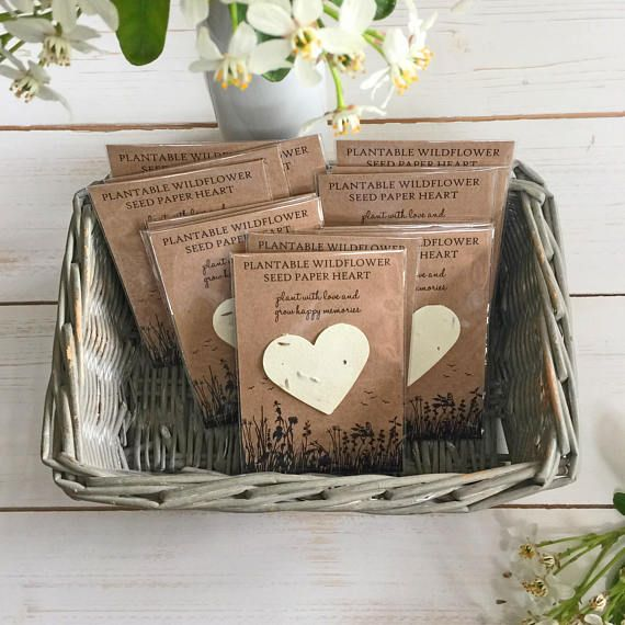 10 PLANTABLE WILDFLOWER SEED PAPER HEART FUNERAL FAVORS A Pack Of
