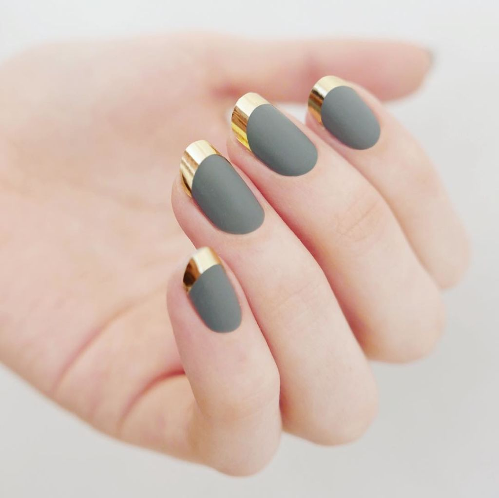Matte + Chrome If you want a higher contrast, apply chrome nail tape to your tips instead of polish. Design by @mpnails