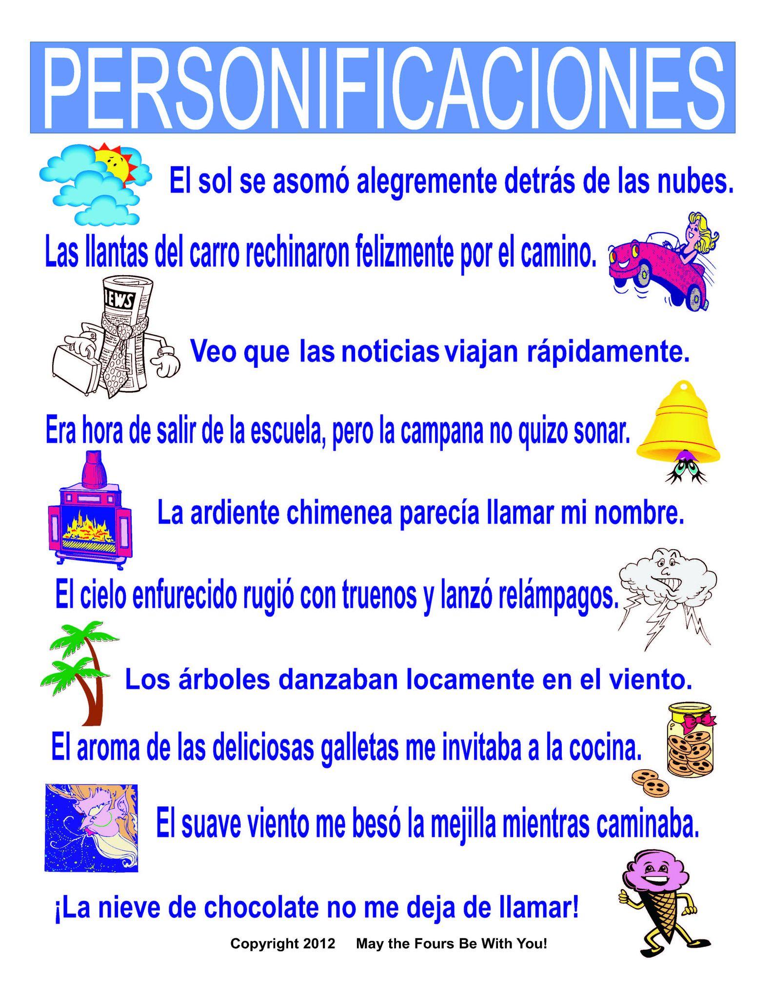 Personificaciones Spanish Classroom Poster | Literatura, Escritura y ...