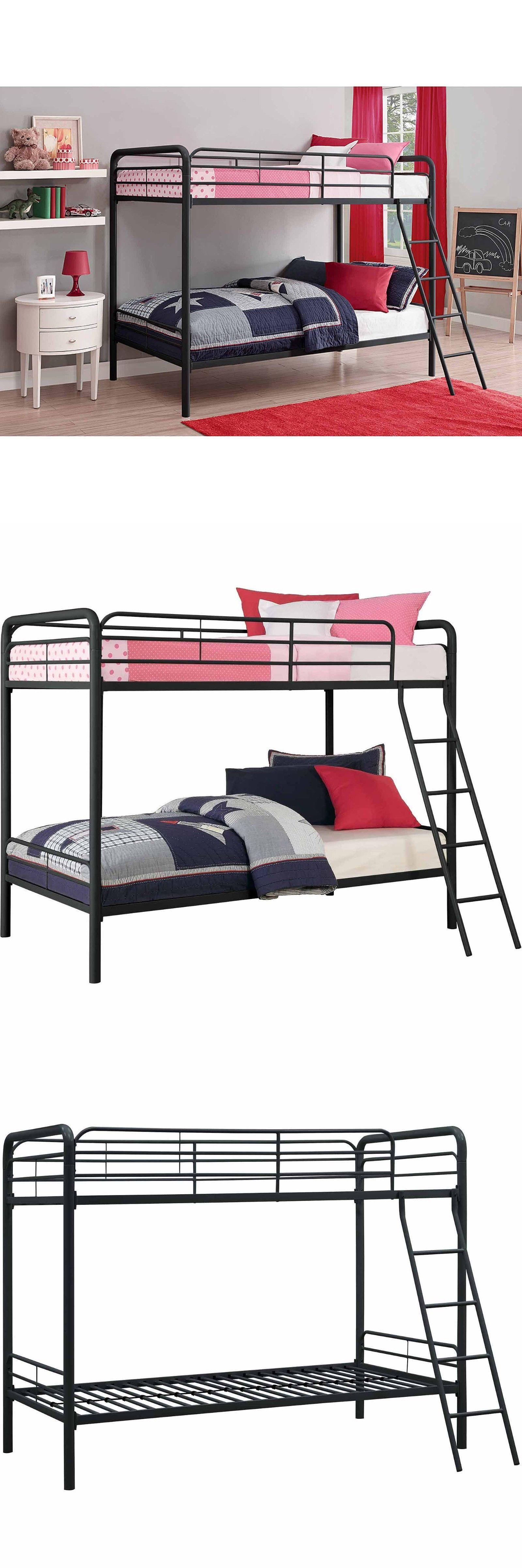 bedroom furniture 66742 dhp twin over twin metal bunk bed frame rh pinterest com