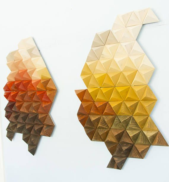 Geometric wood wall art, made entire from wood cut it into shape of ...