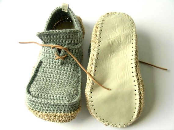 House Shoes with Leather Sole - Crocheted!!!!! NW ...
