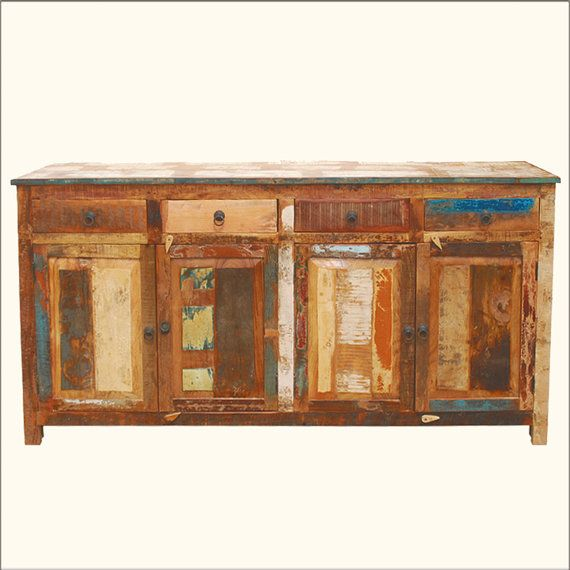 distressed buffet sideboard weathered rustic reclaimed wood 73 rh pinterest com