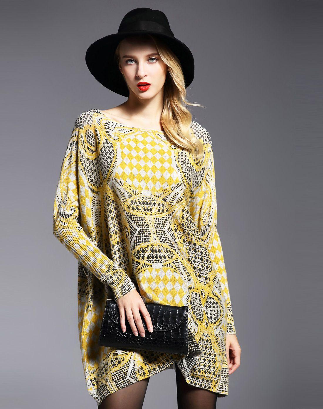 Adorewe hepswing hepswing light grey based yellow printed long
