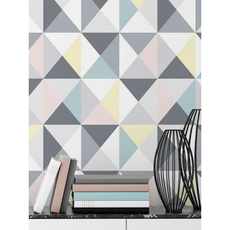papier peint polygone motif triangles pastel ambiance. Black Bedroom Furniture Sets. Home Design Ideas