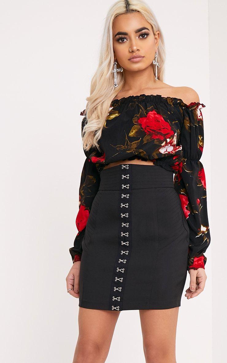 Naomi Red Floral Print Bardot Crop Top