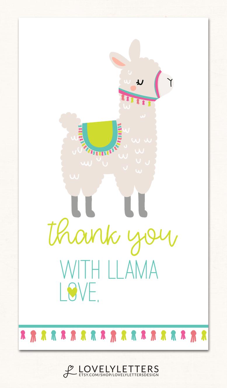 picture relating to Llama Printable titled Llama Thank Oneself Card / Llama Birthday Printables / Llama