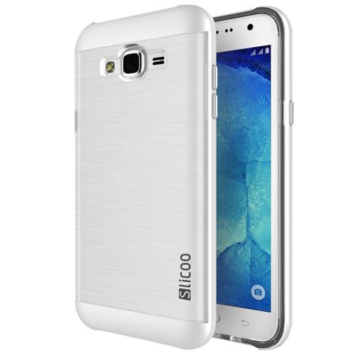SUNSKY - Slicoo Brushed Texture Electroplating Transparenct TPU + PC Combination Case for Samsung Galaxy J7 / J700(White)
