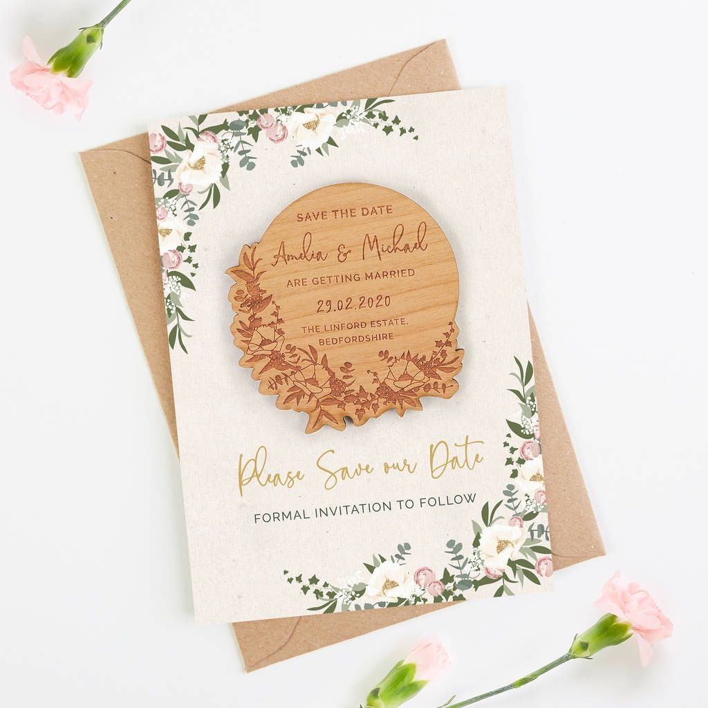 Floral hoop save the date wooden floral save the