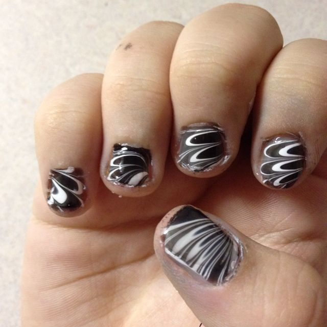 I did black and white water marble :)