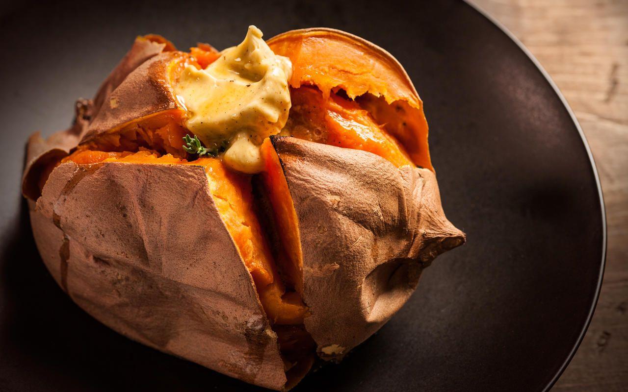 Baked Sweet Potato with MolassesClove Butter Recipe
