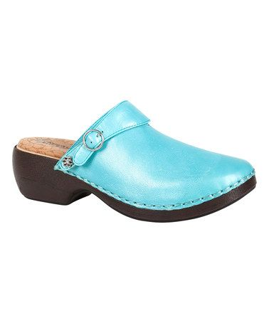 Look what I found on #zulily! Blue Three-In-One Leather Clog #zulilyfinds