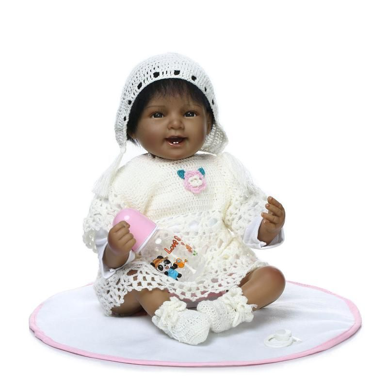 New 55cm Black Skin Soft Silicone Body Reborn Babies Sleeping dolls ... 62c0c74d43e5