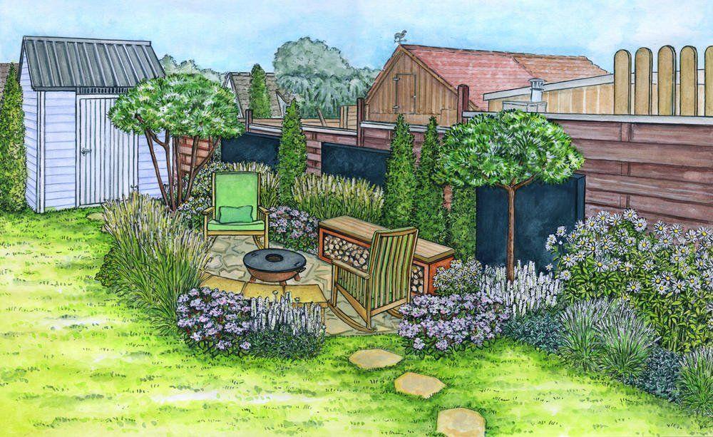 Eine Sitzecke Mit Feuerstelle Entsteht Sitzecken Garten Feuerstelle Garten Feuerschalen Garten