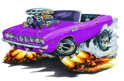 Cuda Barracuda Muscle Car Cartoon Tshirt Free Monster