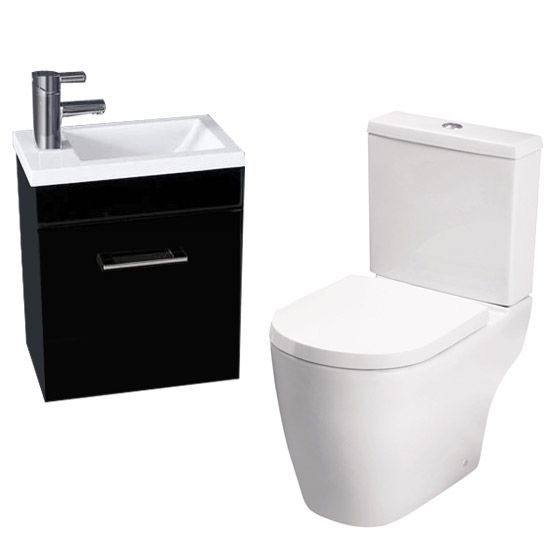 Kobe Gloss Black Cloakroom Wall Hung Unit with Close Coupled Toilet profile large image view 1 £239.95