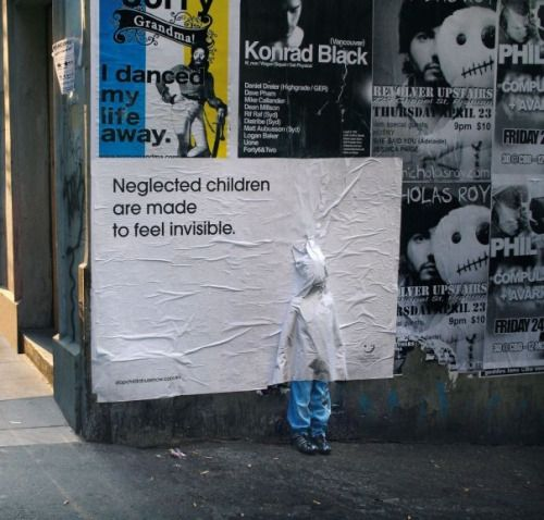 Powerful poster advertising campaign 'Neglected children are made to feel invisible'