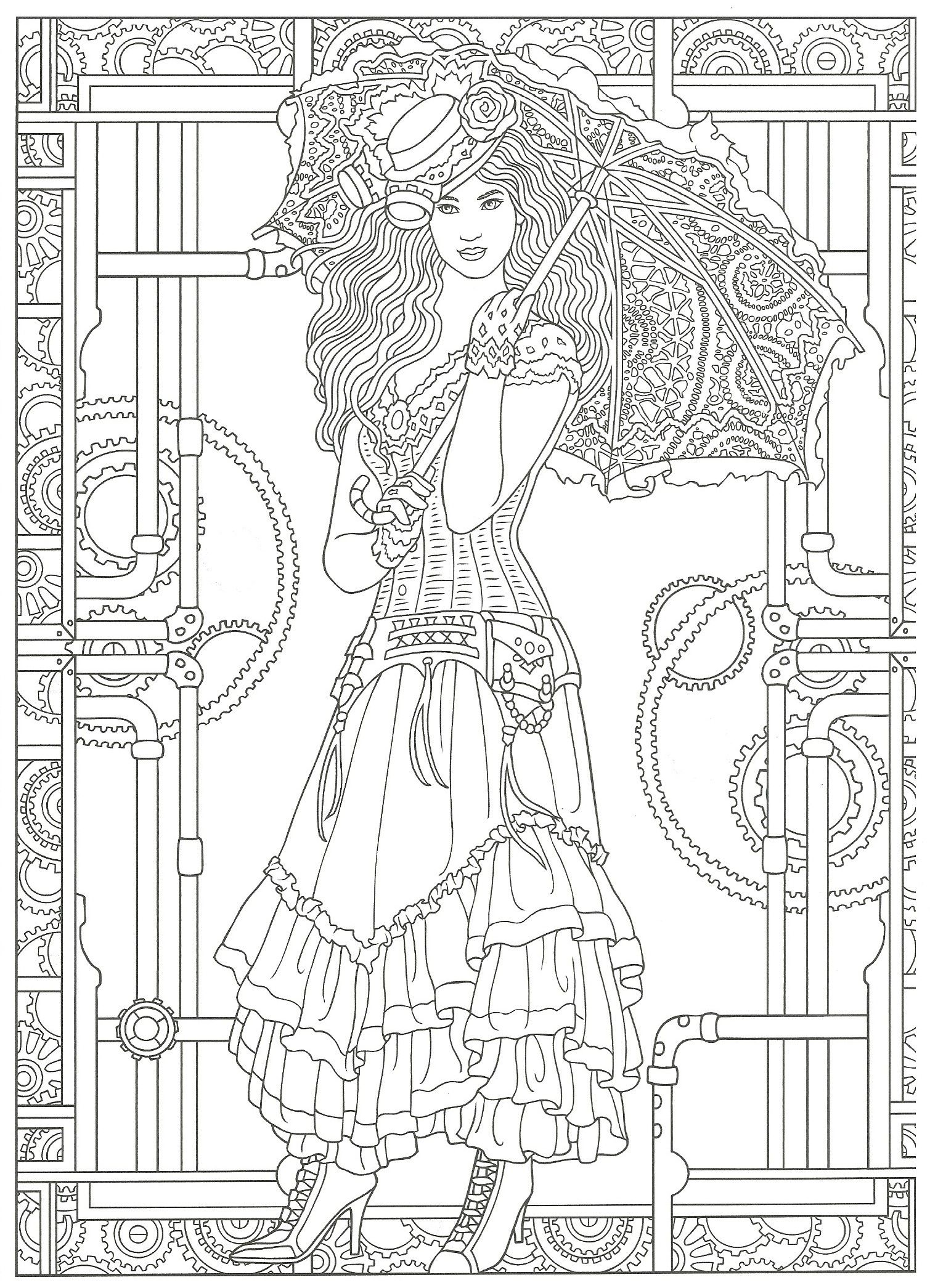 steampunk coloring artwork by marty noble creative haven