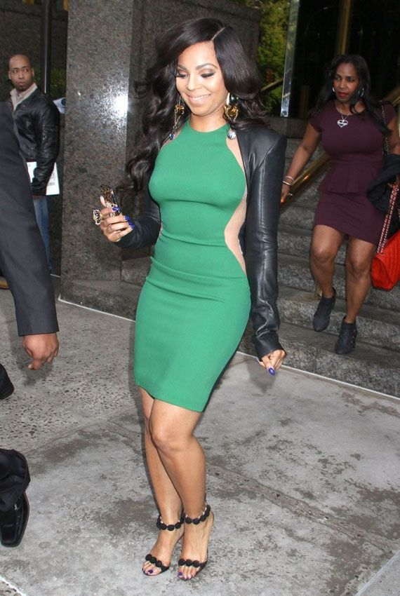 17a16198cae8 The post Splurge  Ashanti s New York City Stella McCartney Green Mesh  Insert Colorblock Dress and