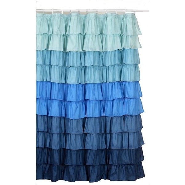 Amazon Com Flamenco Ruffle Shower Curtain Darck Blue 23 Liked On Polyvore Featuring Fabric Shower Curtains Ruffle Shower Curtains Colorful Curtains