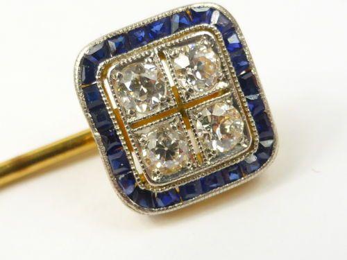 Antique 18ct gold Sapphire & 0.40cts of Diamond stick pin