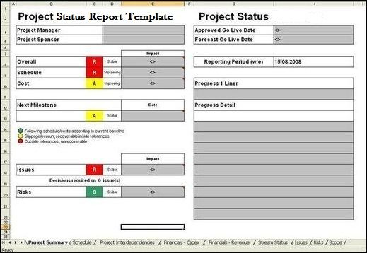 Project Report Template ExcelTemple Excel Project Management