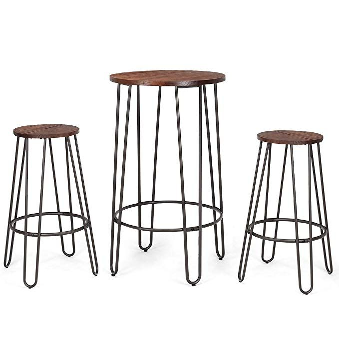 costway 3 pieces bar table set with 2 stools round height steel pub rh pinterest com
