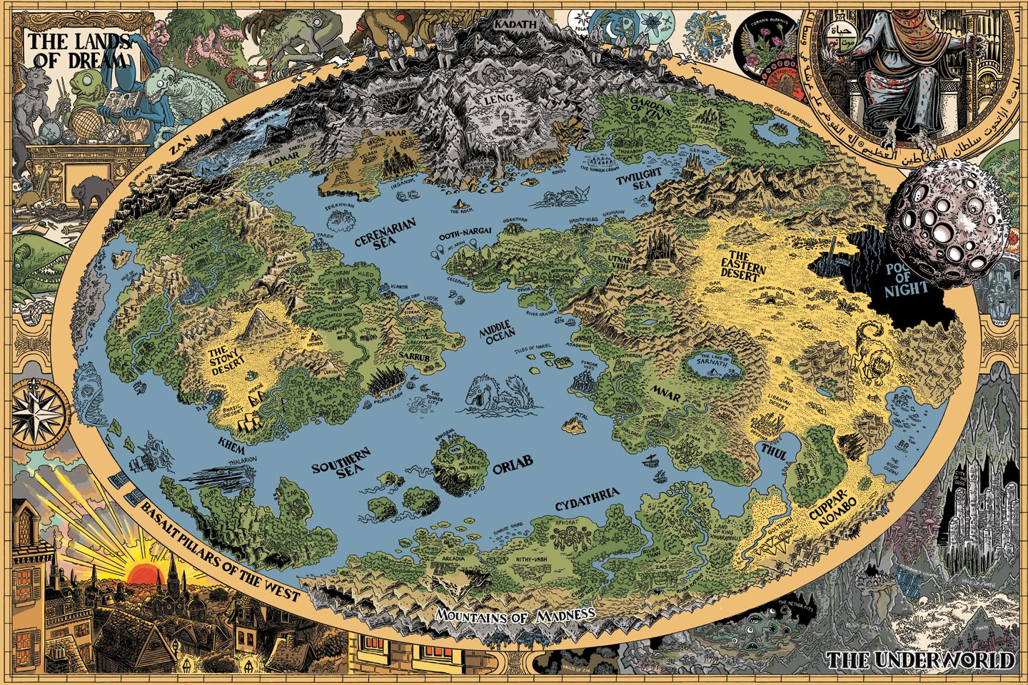 A map of H Lovecraftu0027s Dreamlands by