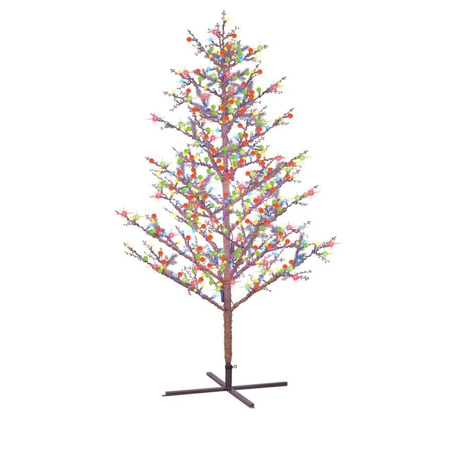 Ge 8 Ft Winterberry Pre Lit Brown Branch Artificial Christmas Tree