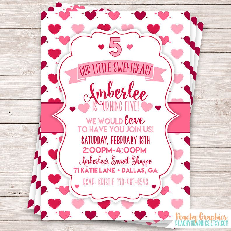 Printable Sweetheart Birthday Party Invitation For Valentines Day